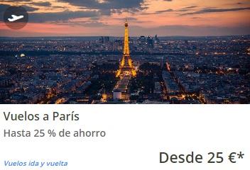 Vuelo i/v a Paris por 25€ con edreams